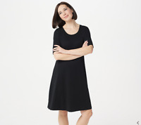 Isaac Mizrahi Live! Regular Essentials Pima Cotton Elbow- Sleeve Dress, Black,XL