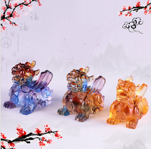 Liuli Big Crystal PiXiu Paperweight Animal Figurine Ornaments Charm Mascot Gifts