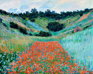 Poppy Field in a Hollow near Giverny A1+ by Claude Monet Quality Canvas Print