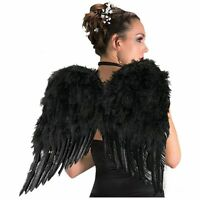 Rubies Deluxe Black Feather Wings Angel Goddess Womens Halloween Costume 1969