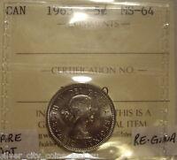 Scarce Elizabeth II 1963 DOT Variety Five Cents - ICCS MS-64 (XEN 660)