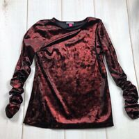 Vince Camuto Womens Velvet Blouse Multicolor Ruched Long Sleeve Scoop Neck XS