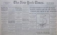 1-1932 January 29 JAPAN UNABLE TO OCCUPY SHANGHAI. BRITAIN AVOID CLASH. HARBIN