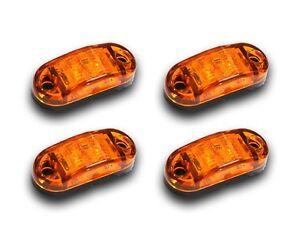 4 PCS 12V 2 SMD LED ORANGE AMBER MARKER LIGHTS CAMPER CARAVAN BUS TRUCK TRAILER