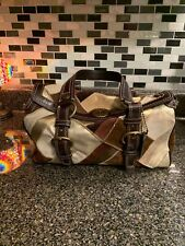 Coach Holiday Patchwork Multicolor Shopper Purse Leather Hobo Bag