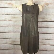 Vince Bronze Metallic Leather Mini Dress Sz 8 NEW NWT