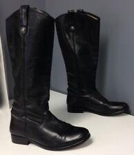 FRYE Solid Black Leather Knee HIgh Pull On Block Heel Moto Style Boot Sz 7 B4367