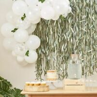 WHITE BABY SHOWER BALLOONS ARCH WITH FOLIAGE CENTERPIECE GREENERY WEDDING