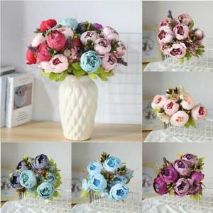 Wedding Bouquet Silk Peony Bunch Artificial Flowers Home Party Decor 13 Heads