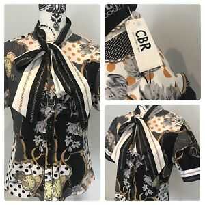 Boutique scarf print puff sleeve blouse BNWT chic boutique rose size 10-12 Bow