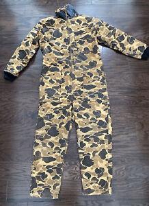 Vintage SafTBak Camo Camoflage Hunting Suit Coveralls Mens Size Large VTG