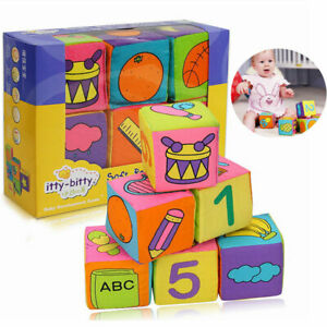 Baby Toys 0-24 Months Mobile Magic Cube with Rattle Soft Cloth Puzzle Blocks
