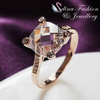 18K Rose Gold Plated Simulated Glass Crystal Cushion Cut Ring Jewellery