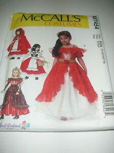 Uncut McCalls Girl Child 3-8 Red Riding Hood Cape Dress-Up Costumes Pattern 7454