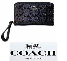 Coach Signature Debossed Black Patent Leather Phone Wristlet Wallet F57469