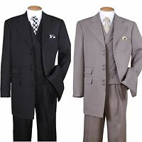 Men's Fancy 3 Pair Button Wool Feel Suit with Pants and Vest 2917V