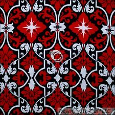 BonEful Fabric FQ Cotton Quilt Black White B&W Red Flower Stripe L Damask Scroll