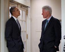 US Presidents BARACK OBAMA & BILL CLINTON Glossy 8x10 Photo White House Poster