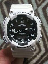 Casio Tough Solar Mens Aqs810w White Black Dial 5 Alarms Analog Digital Watch