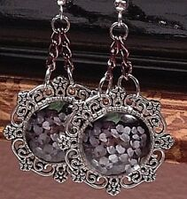 WHITE FLORAL ON BLACK 925 STERLING SILVER French Wires Dangle Drop Earrings