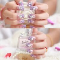 24 Piece Lilac 3D Crystal Glitter False Nails Set Wedding Ball Party