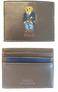 Polo Ralph Lauren (Polo Bear) Preppy Slim Card Case Wallet Brown Leather NIB⭐