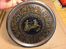 Vintage Egyptian Copper Brass & Black Enamel Plate Wall hanging Extremely Nice