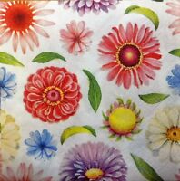 4 x Single Paper Napkins Colorful Flowers Decoupage and Crafting Party  43