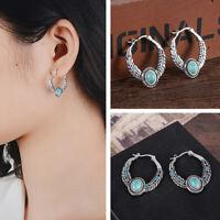 Boho 925 Silver Tibetan Turquoise Dangle Drop Hook Earring Women Vintage Jewelry