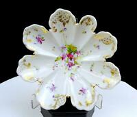 """NPKS DOW SIE COT URE NIPPON JAPAN FLORAL AND GILT 6 1/4"""" FLORA-FORM DISH"""