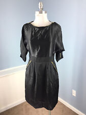 PHOEBE Couture Black Silk Dolman Sleeve dress S 6 Cocktail Party Gold Zip EUC