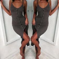 Women Strappy Bodycon Front Split Mini Dress Backless Button Beach Sundress Deep Gray 8