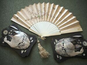 Antique Chinese Embroidered Silk Fan Embroidery Carved Mother of Pearl Holders