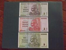 ZIMBABWE HYPERINFLATION SET 50/20/10 TRILLION PERFECT UNCIRCULATED