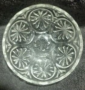 Mint Crystal Serving bowl Medallion Anchor Hocking Clear Glass Star and Cameo