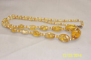 """Vintage Citrine Yellow & White Speckled Glass Bead 29"""""""