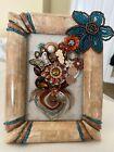 "Vintage Jewelry Art Floral in Vintage Frame 5""x6.5 Unique Glass Heart As Vase"
