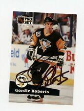 GORDIE ROBERTS PENGUINS AUTOGRAPH AUTO 91-92 PRO SET #458 *38384
