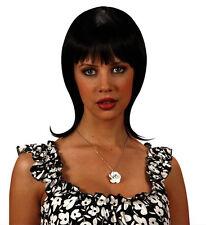Ladies 80s 90s Long Straight Mullet Flick Wig Black Brown Blonde Red Fancy Dress