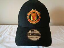 MAN UTD NEW ERA 39THIRTY OFFICIAL LICENSED BLACK HAT CAP BRAND NEW MED/LARGE