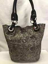 Nine West Large Nylon Tote Shoulder Bag Gray Black Lace