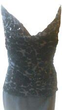Press&Bastyan BNWOT REDUCED black silk&velvet flock top blouse-UK12,US10,F40,D38