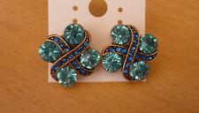Bronskleurige oorbellen met grote en kleine turquoise blauwe strass-stenen NIEUW