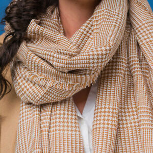 Unisex Willow Brown Checked Scarf