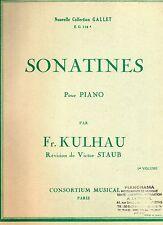 SONATINES Pour piano par Fr. KULHAU- 1er volume