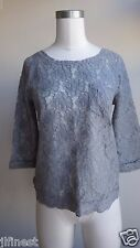 New Women Abercrombie & Fitch Floral Fashion Top, Grey, Size M