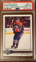 2015/2016 UD Upper Deck OPC Glossy Rookies Connor McDavid PSA 10! Oilers!