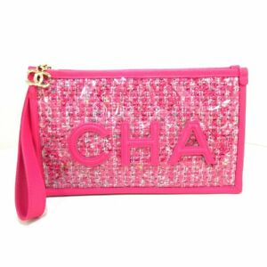 Auth CHANEL Matelasse AP0360 Pink White Multi PVC Lambskin Womens Clutch Bag