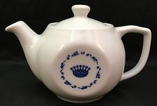Vintage Lubiana Poland Personal Teapot White With Blue Crown Design Porcelain