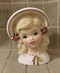 """Vintage Inarco E1274 Mini Christmas Lady Head Vase Planter Headvase 3 3/4"""" Cute"""